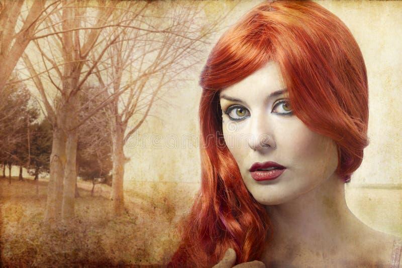 美丽的红发妇女,新生 库存图片