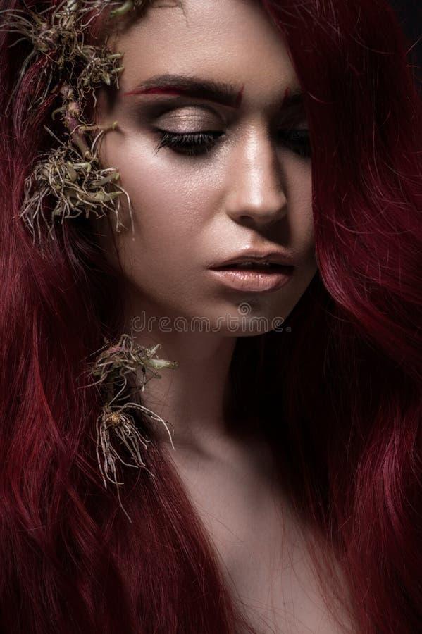 美丽的红发妇女画象  库存图片