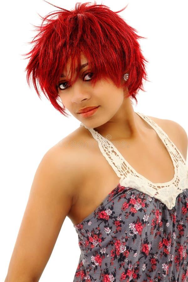 美丽的红发黑人妇女 图库摄影