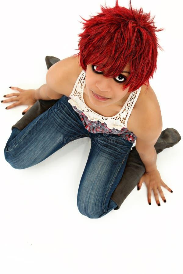 美丽的红发黑人妇女 库存照片