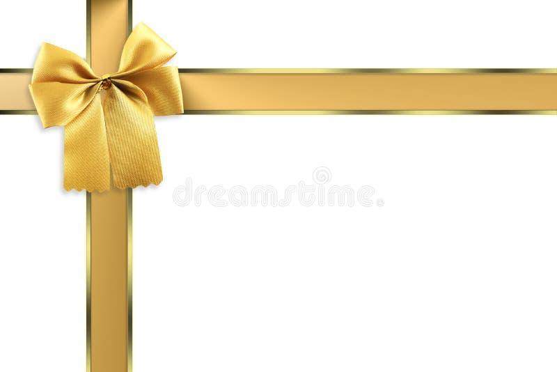 美丽的红色丝带有金弓白色背景 皇族释放例证