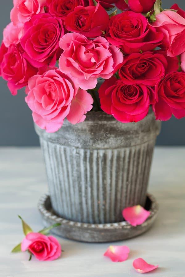 美丽的红色玫瑰开花在花瓶的花束 库存照片