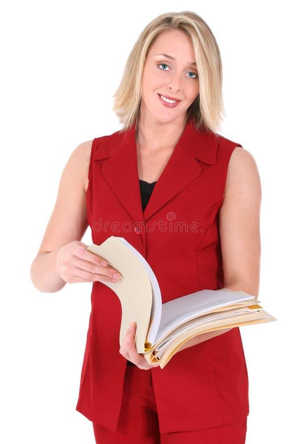 美丽的红色短的袖子诉讼妇女 免版税库存照片