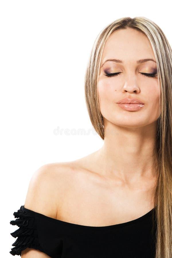 美丽的纵向平静的妇女 免版税库存图片