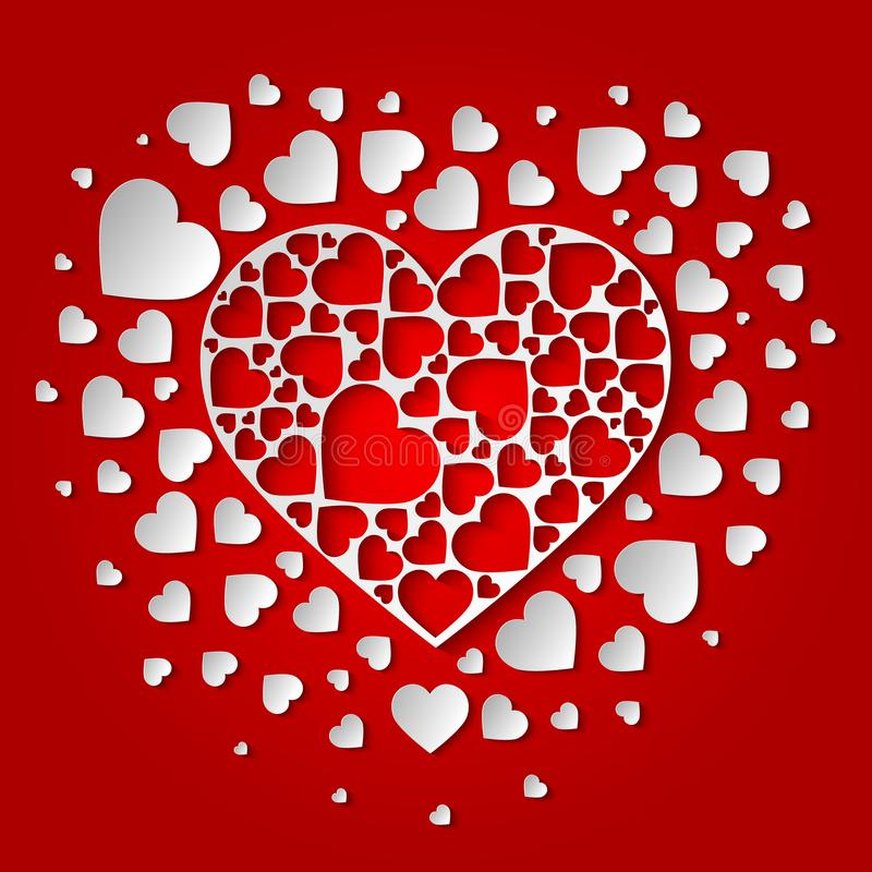 美丽的纸删去了与许多小白色心脏的心脏 库存例证