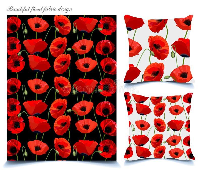 美丽的织品的鸦片花卉样式 免版税图库摄影