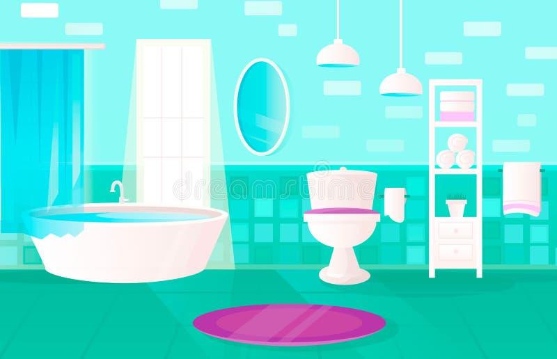 美丽的绿色卫生间现代室与 免版税库存照片