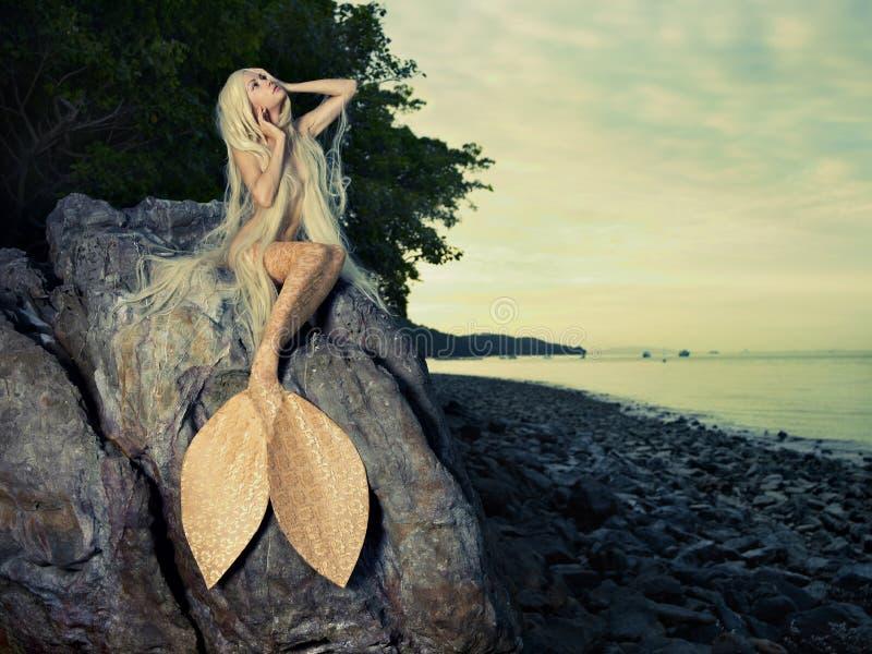 美丽的美人鱼坐岩石 免版税库存图片