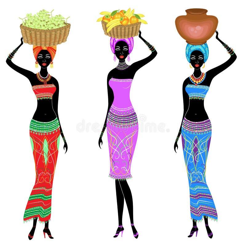 ?? 美丽的美国黑人的夫人 女孩运载在她的头的一个篮子有柿子的,桔子,香蕉,葡萄和 皇族释放例证