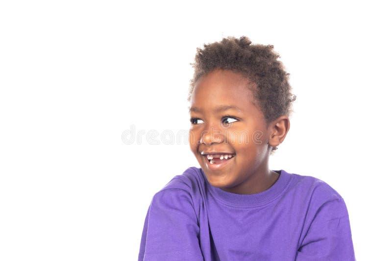 美丽的美国黑人的男孩 免版税库存照片