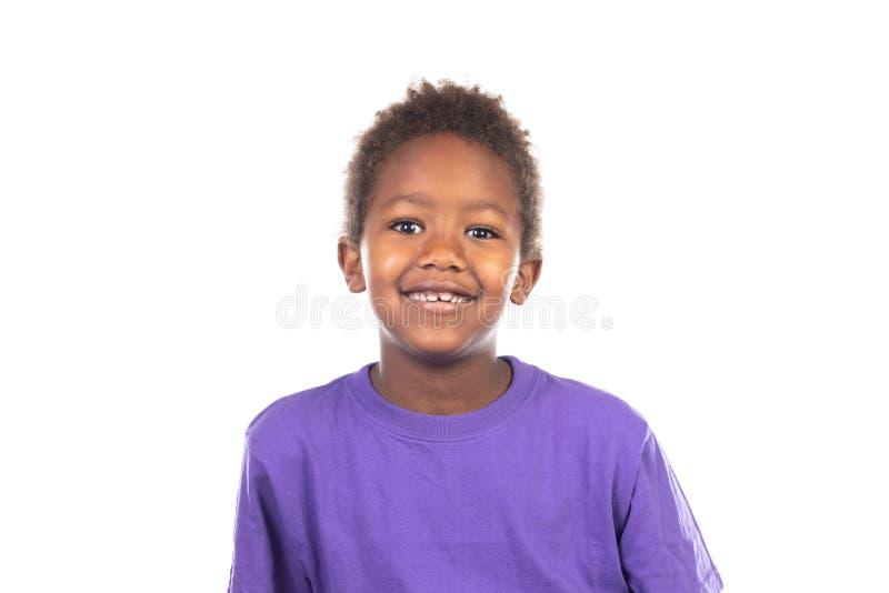 美丽的美国黑人的男孩 免版税库存图片