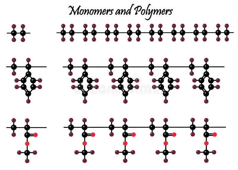 美丽的聚合物分子和他们的格子 皇族释放例证