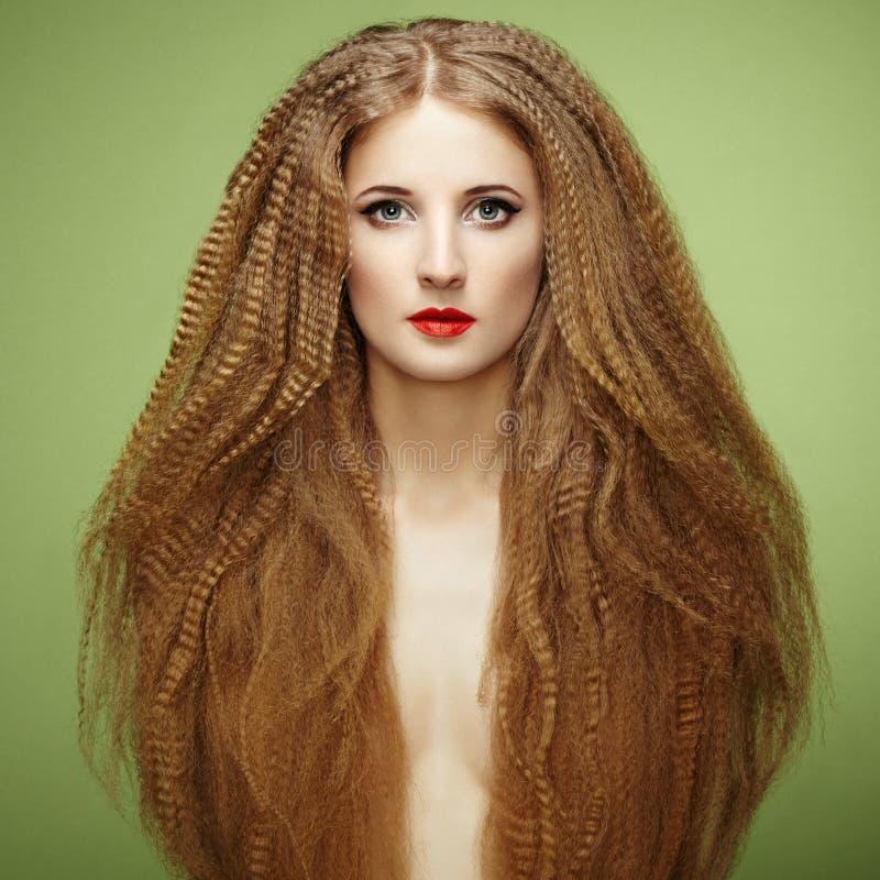 美丽的肉欲的妇女画象有典雅的发型的 库存照片