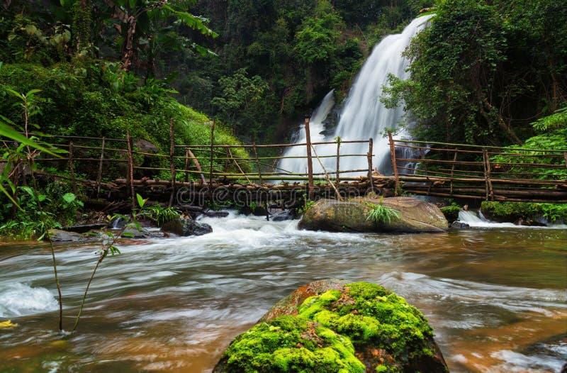 美丽的自然Pha Dokseaw瀑布 库存照片