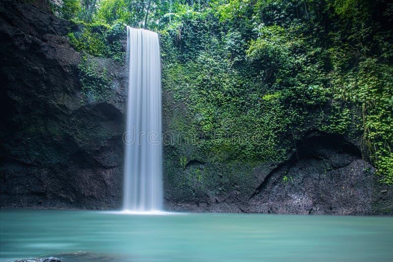 美丽的自然Tibumana瀑布在巴厘岛 库存照片