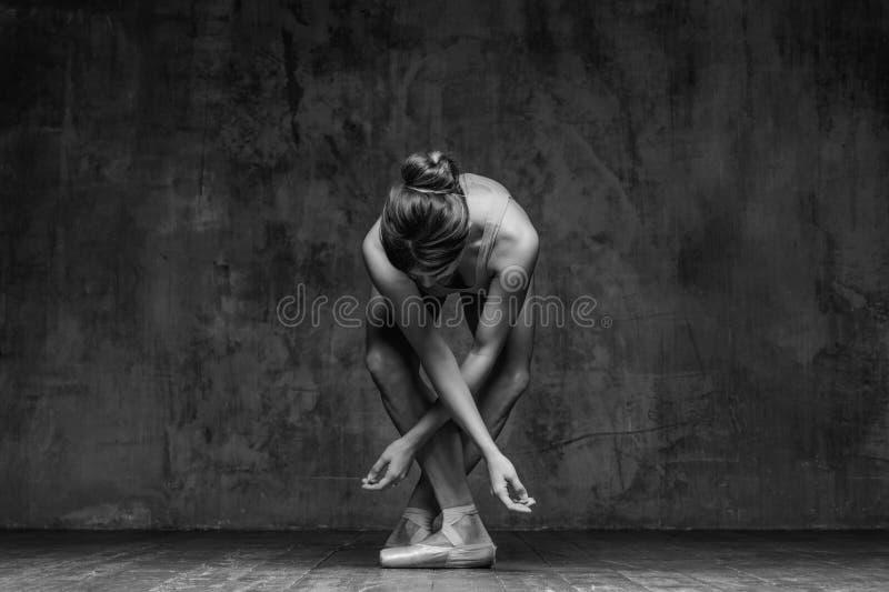 年轻美丽的舞蹈家在演播室摆在 库存图片