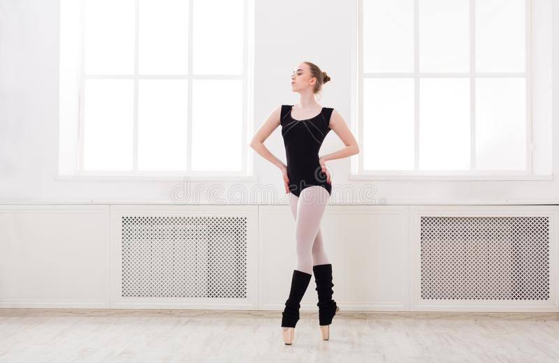 美丽的芭蕾舞女演员在芭蕾croise站立 库存图片