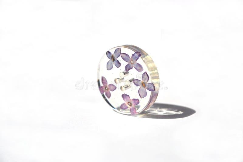 美丽的花卉按钮,丁香环氧树脂花  免版税图库摄影