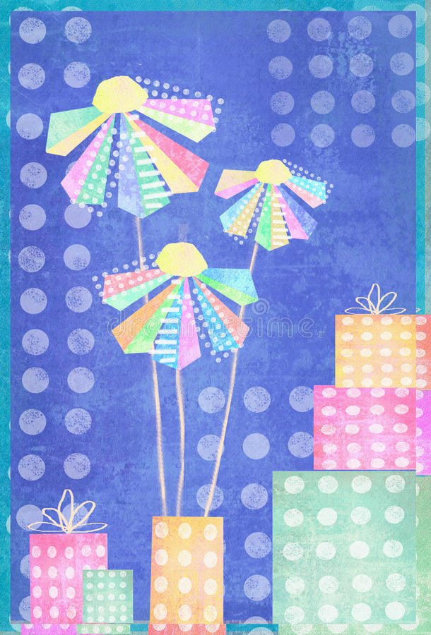 美丽的花和礼物盒在圆点背景 在抽象动画片样式的设计 明信片花 库存例证