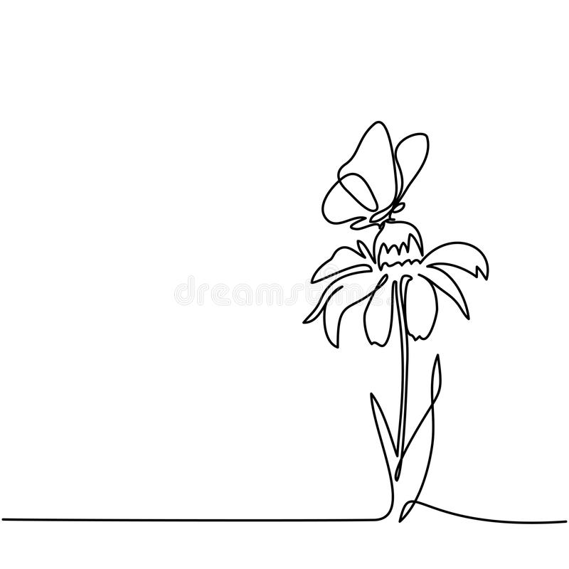 美丽的花图画与蝴蝶的 库存例证