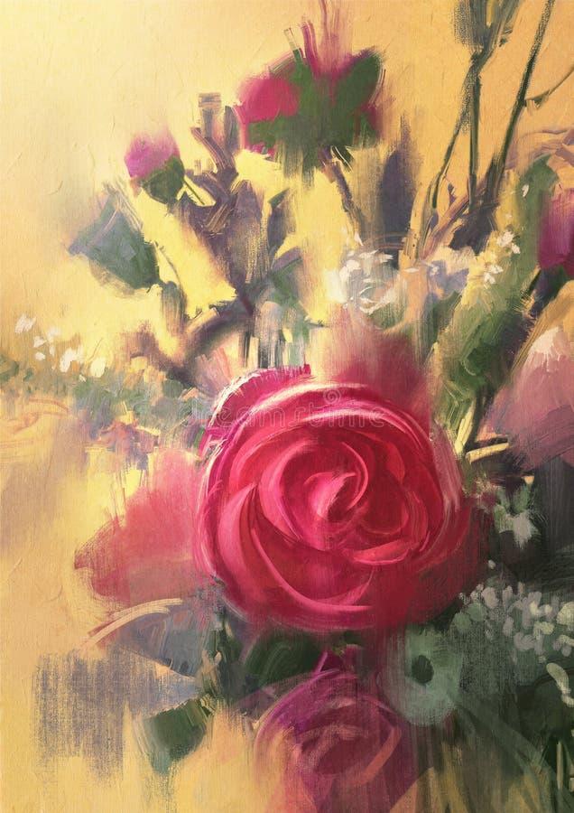美丽的花束粉红色玫瑰 向量例证
