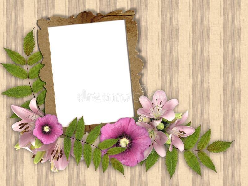 美丽的花束花卉框架 向量例证