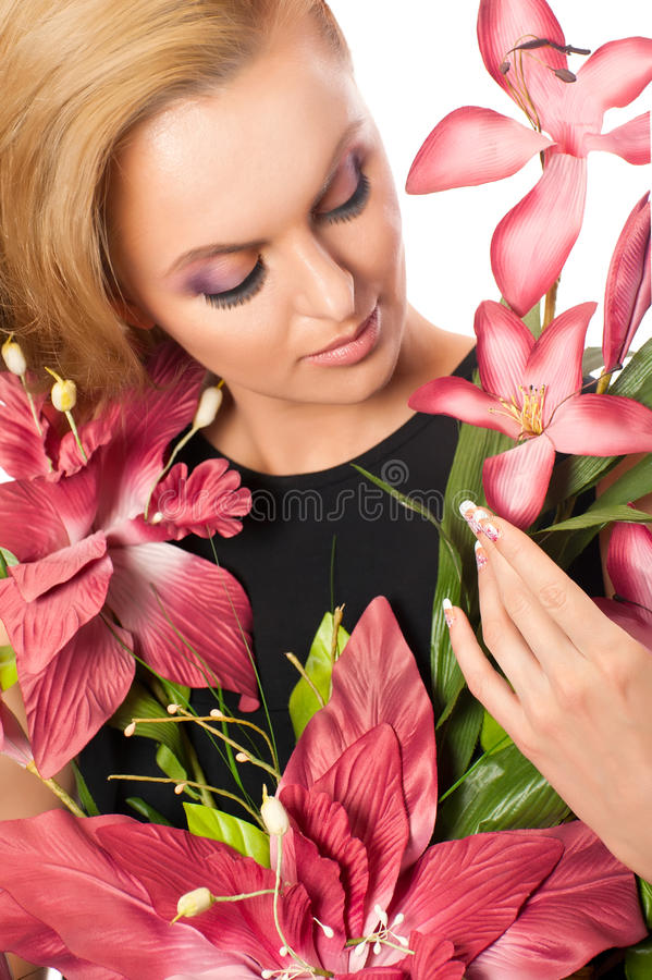 美丽的花纵向妇女 免版税库存照片