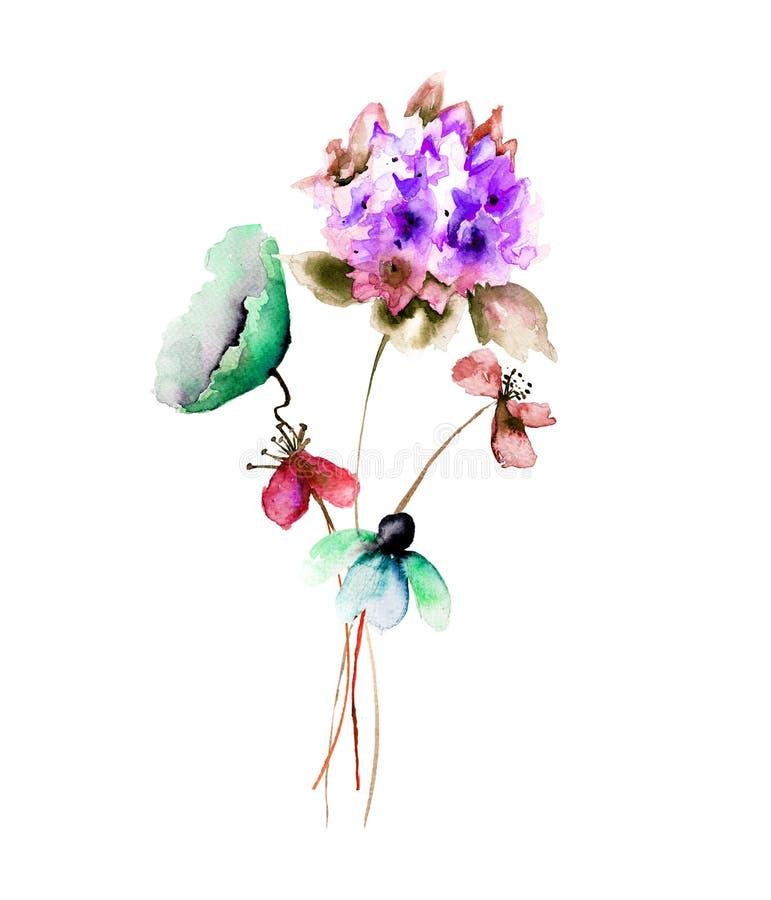 美丽的花,水彩例证 皇族释放例证