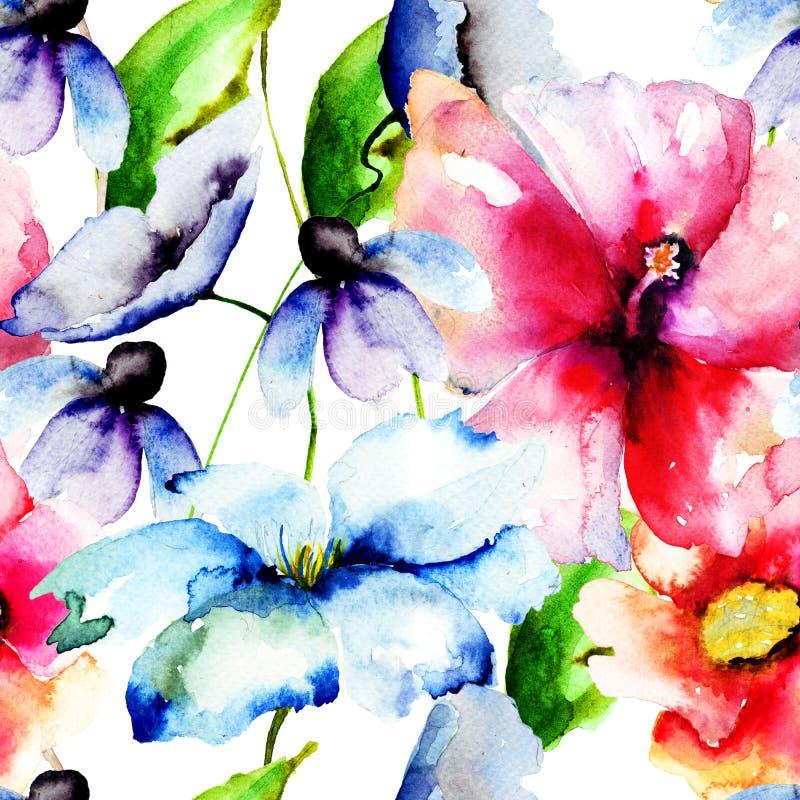 美丽的花,水彩绘画 皇族释放例证