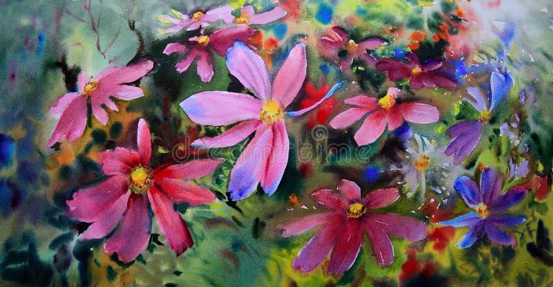 美丽的花水彩绘画  向量例证