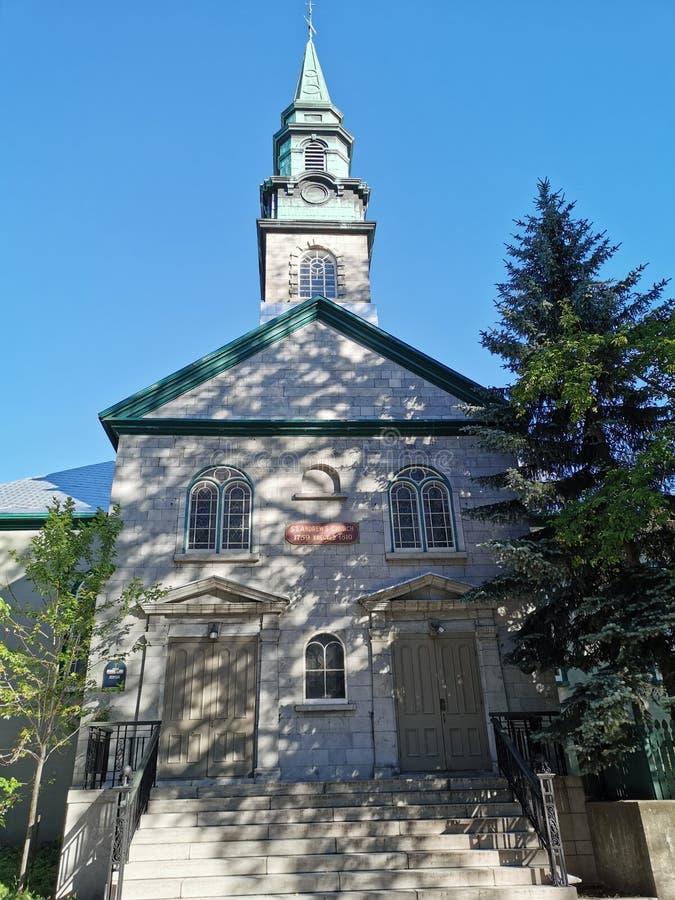美丽的英国教会在魁北克市加拿大 免版税图库摄影