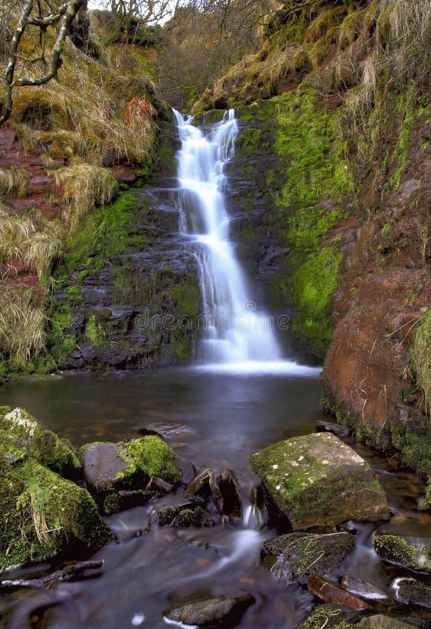 美丽的落下的瀑布, Nant Bwrefwy 库存图片
