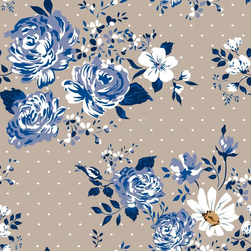 美丽的葡萄酒无缝的花卉样式背景 玫瑰花花束  向量例证