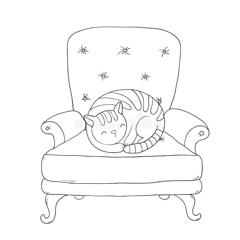 美丽的葡萄酒椅子和一只逗人喜爱的猫 向量例证