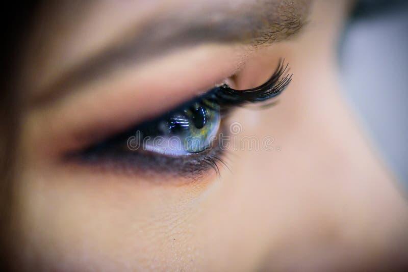 美丽的蓝眼睛特写镜头 构成时尚眼睛 免版税库存照片