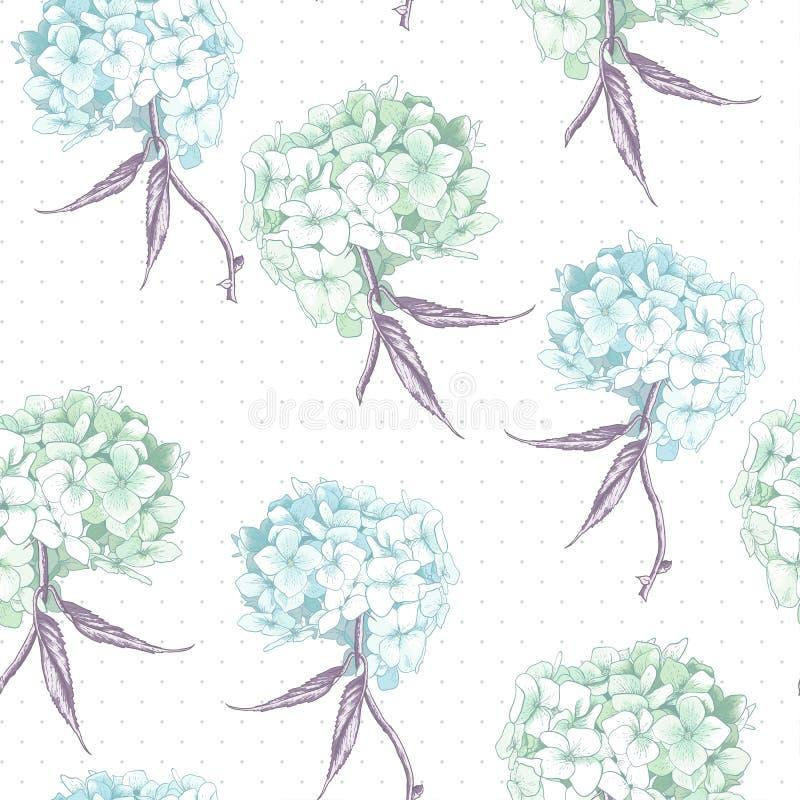美丽的蓝色八仙花属无缝的背景 皇族释放例证