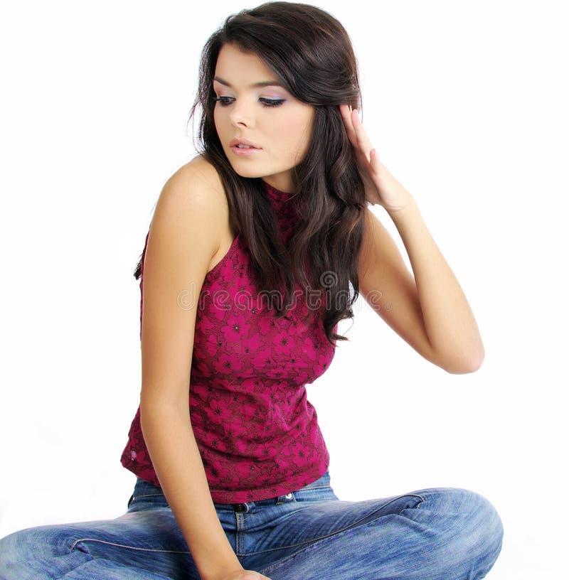 美丽的蓝色女孩牛仔裤 库存图片