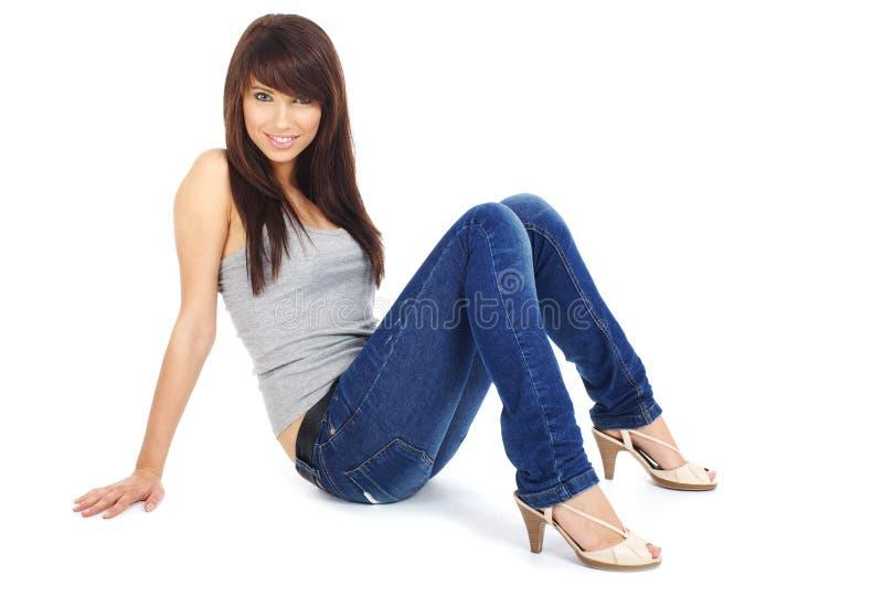 美丽的蓝色女孩牛仔裤 库存照片