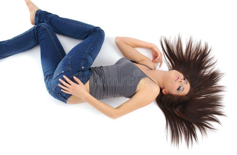 美丽的蓝色女孩牛仔裤 免版税库存图片