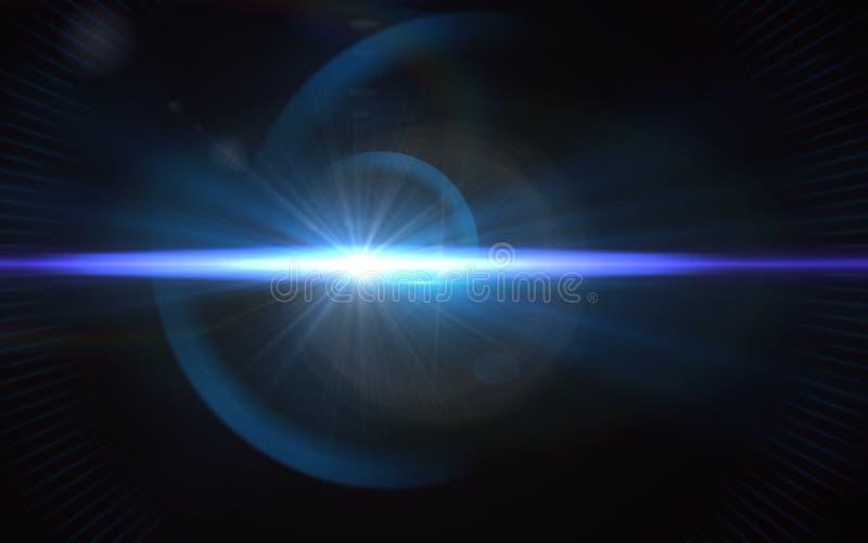 美丽的蓝色数字式透镜火光在黑背景中 免版税库存图片