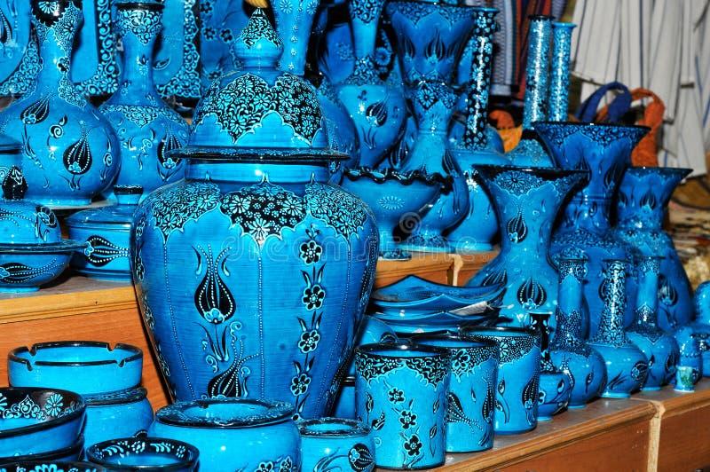 美丽的蓝色瓦器 库存图片
