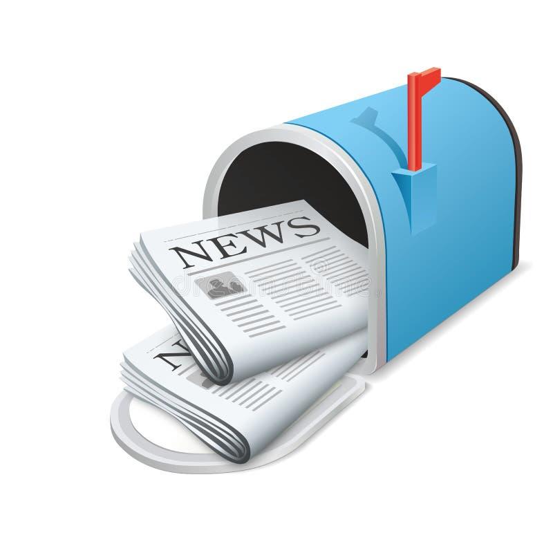 美丽的蓝色金属被打开的邮箱。传染媒介象。每日新闻 向量例证