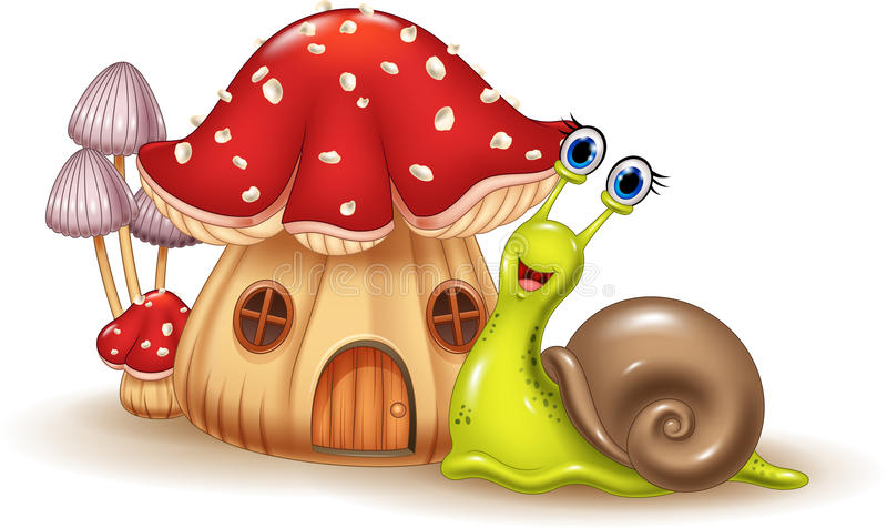 美丽的蘑菇房子和愉快的蜗牛动画片 皇族释放例证