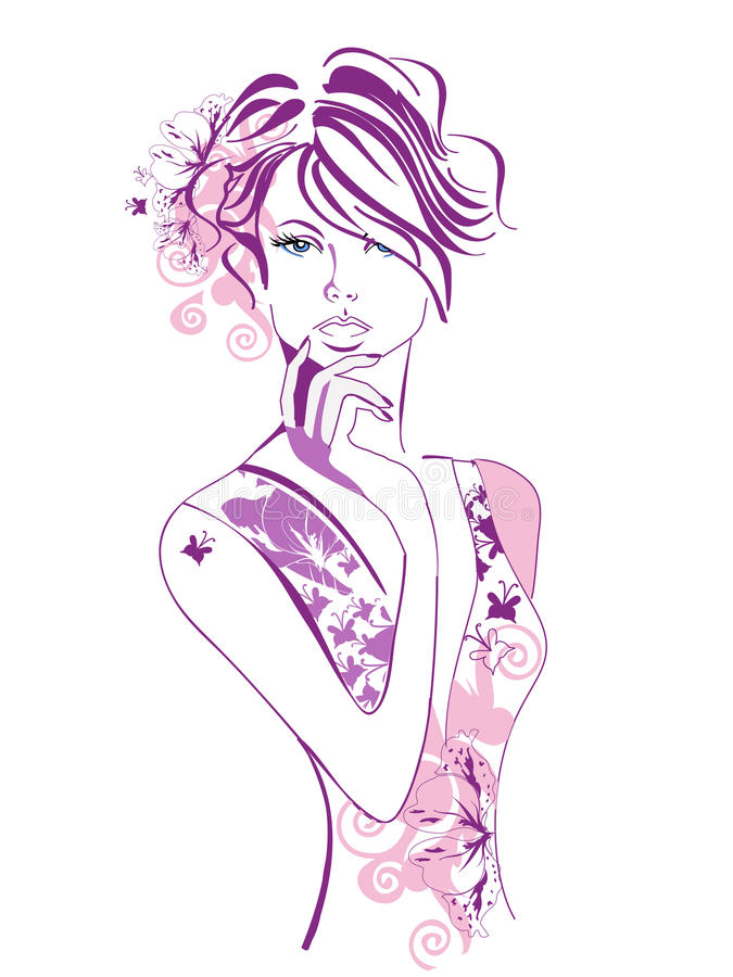 美丽的蝴蝶女孩 皇族释放例证