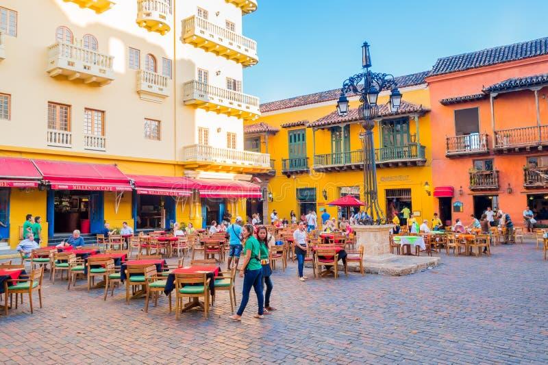 美丽的街道在卡塔赫钠,哥伦比亚 免版税库存照片