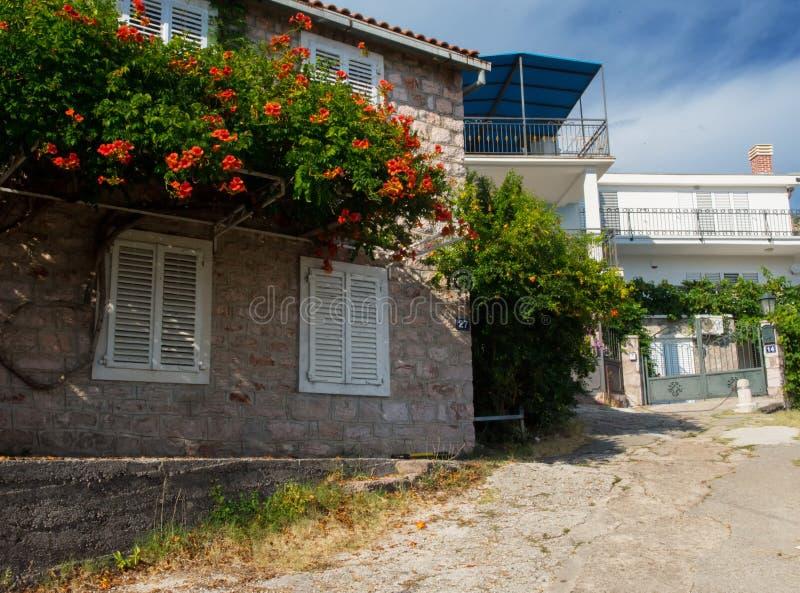 美丽的街道欧洲小镇 在地中海附近的一小镇 石墙,有花的绿色庭院 库存照片