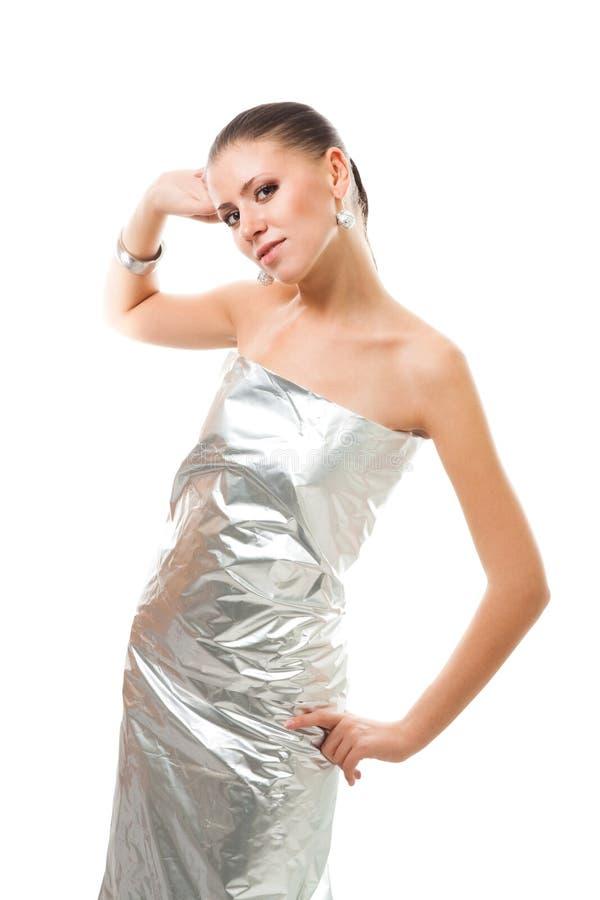 美丽的衣裳未来派银色妇女 图库摄影