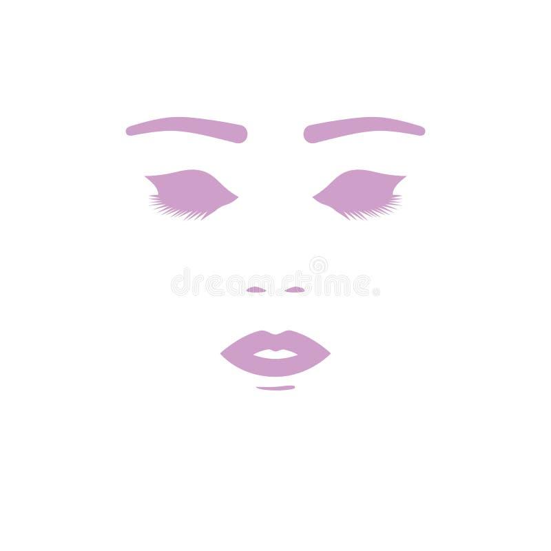 美丽的表面剪影妇女 面膜的,化妆项目传染媒介例证 皇族释放例证