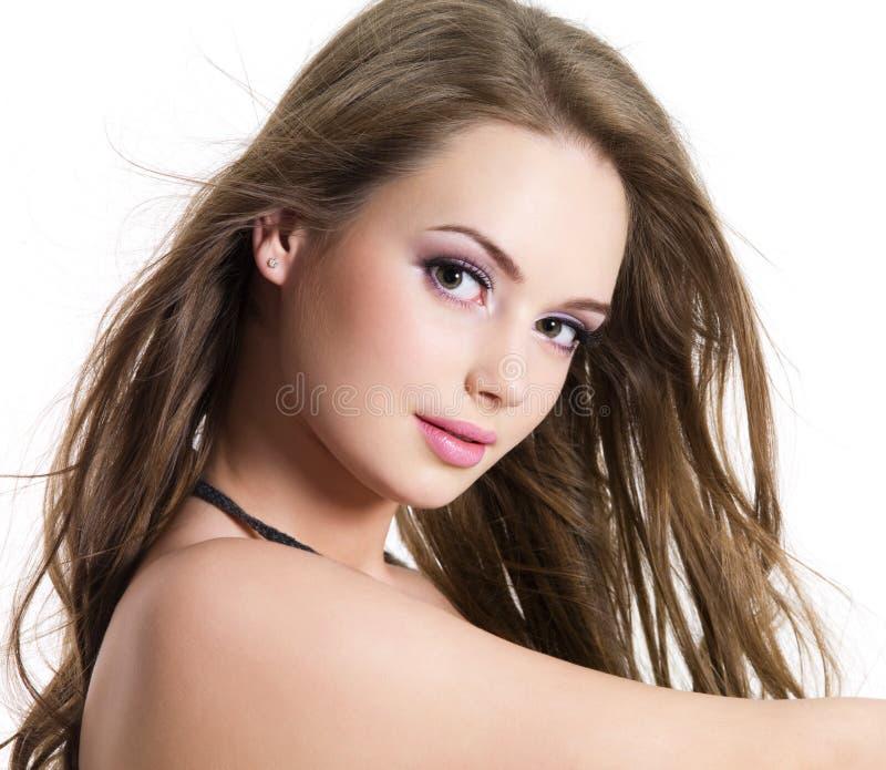 美丽的表面女孩纵向 库存照片