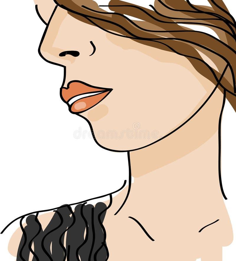 美丽的表面女孩 剪影女性 也corel凹道例证向量 库存例证